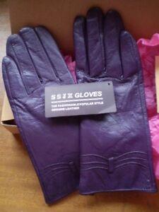 Ladies SSJX Purple Leather Gloves Size Medium in Box