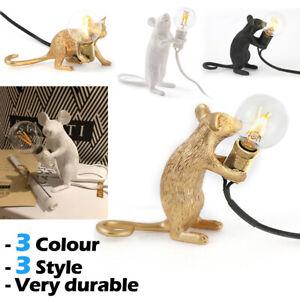 Retro Rat Table Lamp Mouse Desk Light Bedside Resin Lamp + E12 Bulb Home Office