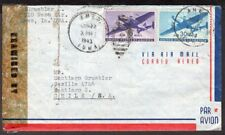 4028 US TO CHILE CENSORED AIR MAIL COVER 1943 AMES, IA - SANTIAGO