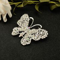 Fashion Women Jewelry Butterfly Silver Crystal Rhinestone Brooch Pin Bridal