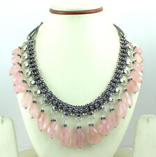 Necklace natural faceted rose quartz gemstone beaded handmade jewelry 128 grams