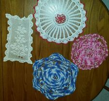 Vintage Lot of 4 Red&White~Blue~Cream~Pink Hand Crochet Doilies Cutter Craft