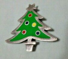 VINTAGE Sterling Silver 925 Brooch Enameled Christmas Tree Mexico