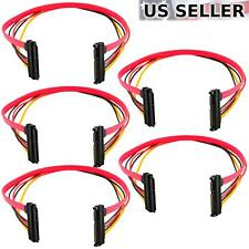 """(5-pack) 15+7 Pin SATA HDD Extension Cable Data+Power Male to Female, 19"""" / 50cm"""