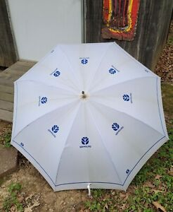 """New Holland Umbrella 45.5"""" 220cm White with Blue Writing - Blue Wooden Handle"""