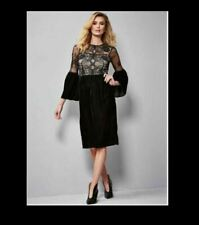 Bell Sleeve Lace & Velvet Dress by Kaleidoscope UK Size 18 Brand New RRP £70