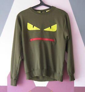 Fendi Mens Monster Sweater Jumper Pullover green yellow eyes Size M Men's