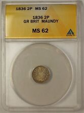 1836 Great Britain 2 Pence 2P Silver Coin Maundy ANACS MS-62