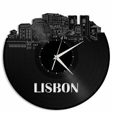 Lisbon Portugal Vinyl Wall Clock Retro Skyline Record Cityscape Home Decor Gift