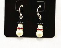 Festive pearl and crystal snowman earrings superb Christmas gift Xmas gear