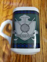 Golf Coat Of Arms/Semper Pilum Spectate Coffee Mug, Papel Freelance (Used/EUC)