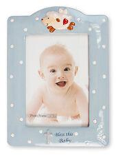 "Baby Boy Christening Baptism Blue Porcelain Photo Picture Frame 7 1/4"" x 9 3/4"""