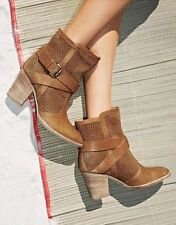 $495 Aquatalia by Marvin K Fawn Brown Leather Ankle Bootie Boot Suede Sz 8 ITALY
