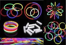 """100 8"""" GLOW STICKS Light Sticks w/ Glow Ball Necklaces Bracelets w/Connectors"""