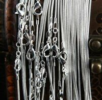 Bulk 50pcs of Wholesale Price 1mm Sterling Silver plated Snake Chain Necklace