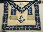 Vintage Freemason Masonic Apron Square and Compass Moon White Blue 44