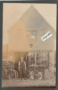 Postcard Shop Front of Tinplate and Cycle Works antique bicycle unlocated RP