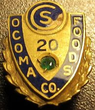 Employee 10k Gold Pin - 1.1grams Very Old Ocoma Foods Co. 20 Year