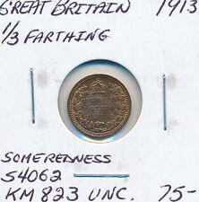 GREAT BRITAIN THIRD FARTHING 1913 S4062 KM823 - UNC Some Redness