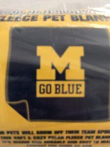 NCAA University Of Michigan Go Blue Fleece Pet Blanket Wolverines 47 X 47 New