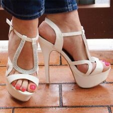 Women Platform Sandals Peep Toe High Heel Ankle Strap Rhinestone Shoes Sexy Pump