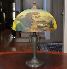 Arts and Crafts Antique Phoenix Pittsburgh Reverse Painted Lamp Wooded Scene