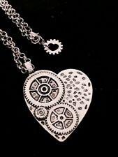 Rolo/belcher Silver Tone NECKLACE with STEAMPUNK Heart Pendant With Gift Box