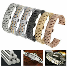 Curved Stainless Steel Watch Strap Band Wrist Bracelet Butterfly Clasp 18-24mm
