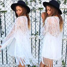 Sexy Women See Through Lace Kimono Cardigan Shirt Blouse Tassels Top Trendy US