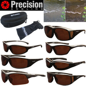 Precision Angling Polarisied Black Sunglasses - Full Range + Hard Case & Pouch