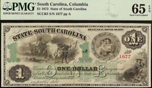 GEM 1872 $1 DOLLAR SOUTH CAROLINA NOTE LARGE CURRENCY PAPER MONEY PMG 65 EPQ