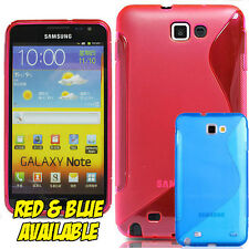 Samsung Galaxy Note N7000 I717 S-Line Silicone Gel Case Cover UK RED OR BLUE