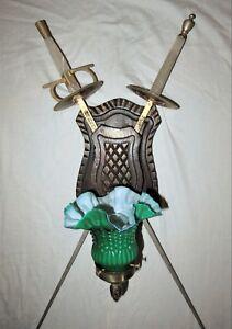 VTG DECO ERA WOOD METAL SCONCE TOLEDO SWORD FOIL WALL FIXTURE CHANDELIER 1950's