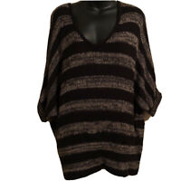 Forever 21 Sweater S Over Sized Open Knit Lightweight Striped Black Brown Dolman