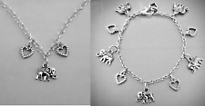 Teens Small Adults Rolo Chain Necklace & Bracelet Hearts Love Elephants Gift Set