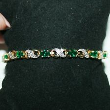Created Emerald Gems Infinity Diamond Tennis Bracelet 14k Yellow Gold over Base
