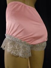 Women's Full Cut Pink Ruffled Nylon Lace Panties Size 7 Waist 26-36 Inches