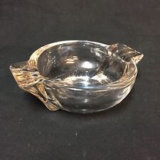 Vintage Clear Glass Cigarette Ashtray Round Bowl Plain No Advertising 6 Rests