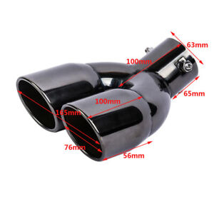 63mm Double Stainless Steel Car Dual Exhaust Pipe Tail Muffler End Tip Part