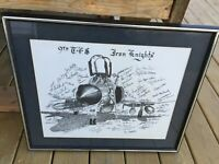 SIGNED 9th Tactical Fighter Squadron Iron Knights USAF Vietnam Framed Plane Art