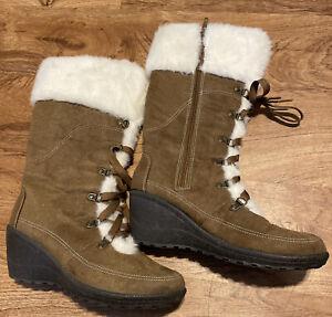 Faded Glory Khaki Brown Fur Knee High Boots Size US 9, EU 41, Mexico 26 New