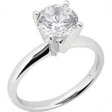1 carat Round cut Diamond Engagement Solitaire 14K White Gold Wedding Ring H SI2