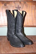Nocona Ladies Cowboy Boots, Soft Black Leather 11B Look New Round Pointed Toe