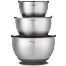 VonShef Mixing Bowl Set Bowls Stainless Steel Dishwasher Baking 3 Piece Large