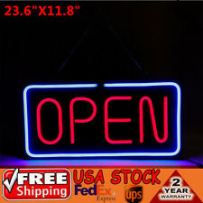 Neon Open Sign 24x12 inch Led Light 30W Horizontal Clubs Hanging Chain Business