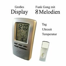 Funk Gong mit Display Melodiengong Uhrzeit Weckfunktion Temperatur Funkgong OVP