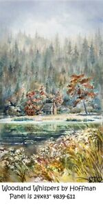 """Woodland Whispers Panel 23x43"""" Cotton Quilt Fabric by Hoffman 4839-611"""
