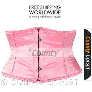 Full Steel Boned Cincher Shaper Mini Waspie Waistbust Sexy Pink Satin Corset