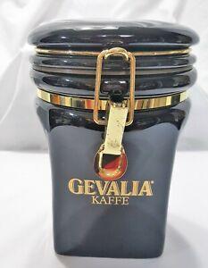 "GEVALIA KAFFE BLACK Canister container ""8 Airtight ~ Kitchen Coffee storage"
