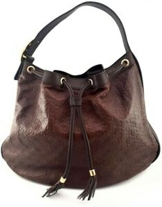 Gucci Dark Brown Monogrammed Leather, Large Hobo Handbag, Authentic.
